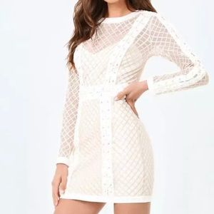New Bebe ivory EMBRD Mesh Lace Up Dress